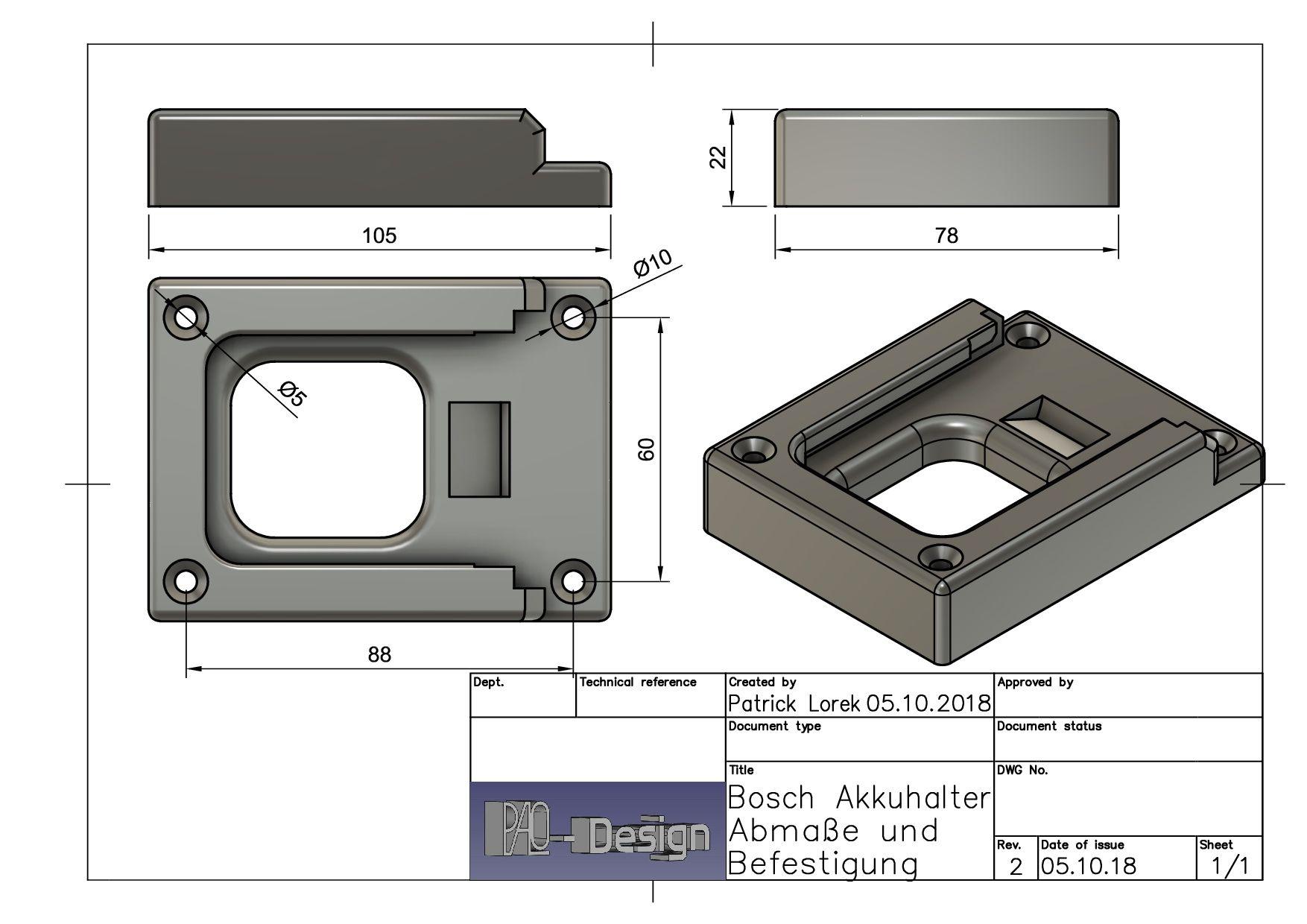 Für Bosch 4-Fach Akkuhalter Halter für 18V Akku/'s