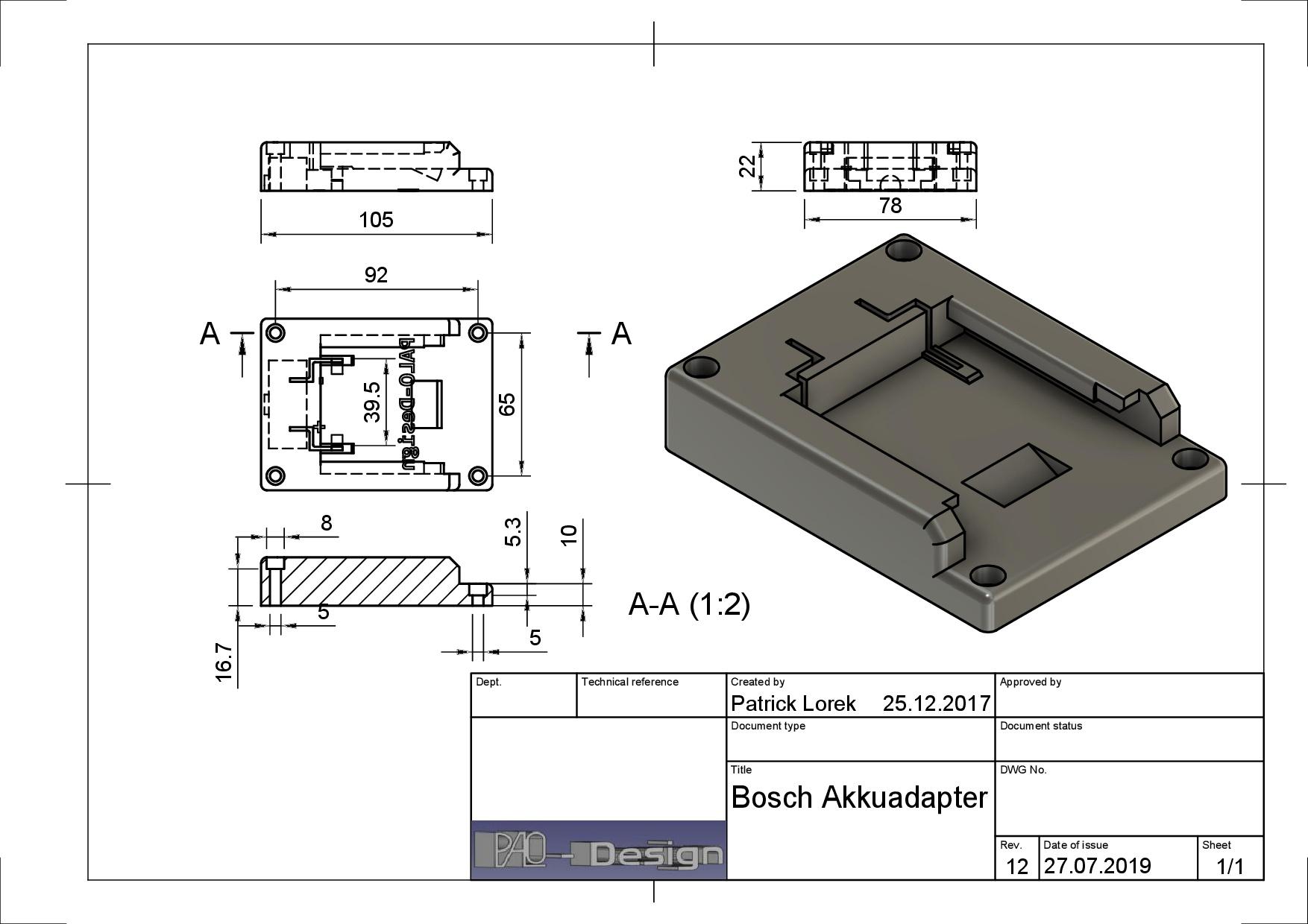 14,4V Ladeschale Akkuhalter Schwarz Adapter für Bosch Akku GBA 18V